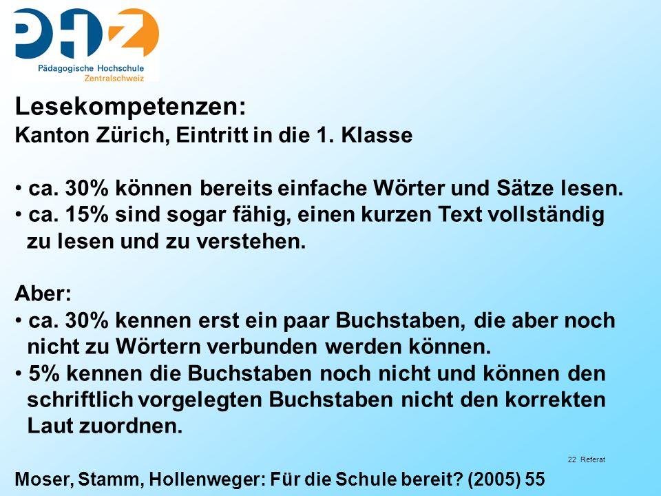 22 Referat Lesekompetenzen: Kanton Zürich, Eintritt in die 1. Klasse ca. 30% können bereits einfache Wörter und Sätze lesen. ca. 15% sind sogar fähig,