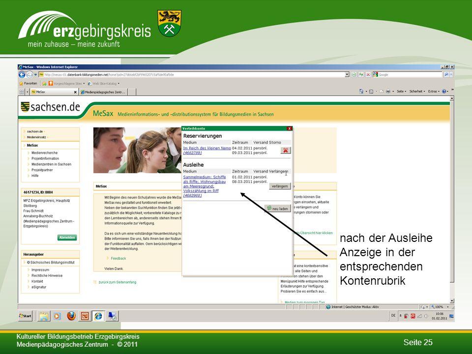 Seite 25 Kultureller Bildungsbetrieb Erzgebirgskreis Medienpädagogisches Zentrum - © 2011 nach der Ausleihe Anzeige in der entsprechenden Kontenrubrik