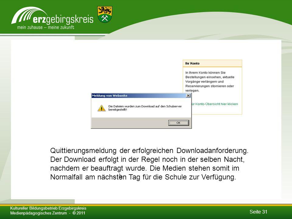 Seite 31 Kultureller Bildungsbetrieb Erzgebirgskreis Medienpädagogisches Zentrum - © 2011 Quittierungsmeldung der erfolgreichen Downloadanforderung.