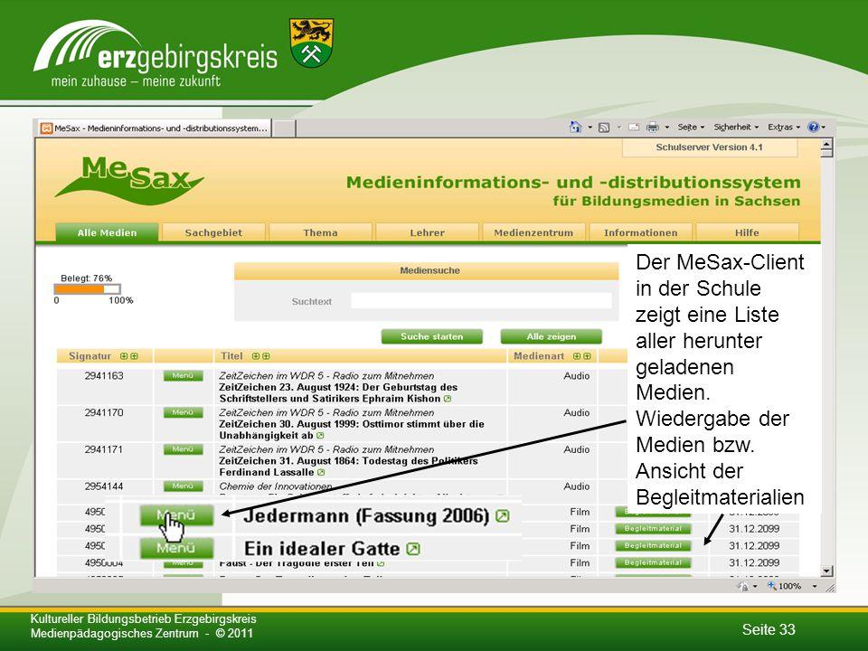 Seite 33 Kultureller Bildungsbetrieb Erzgebirgskreis Medienpädagogisches Zentrum - © 2011 Der MeSax-Client in der Schule zeigt eine Liste aller herunter geladenen Medien.