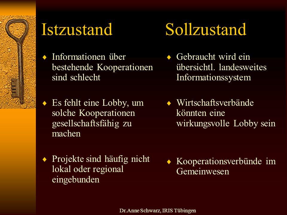 Dr.Anne Schwarz, IRIS Tübingen Istzustand Sollzustand Informationen über bestehende Kooperationen sind schlecht Es fehlt eine Lobby, um solche Kooperationen gesellschaftsfähig zu machen Projekte sind häufig nicht lokal oder regional eingebunden Gebraucht wird ein übersichtl.