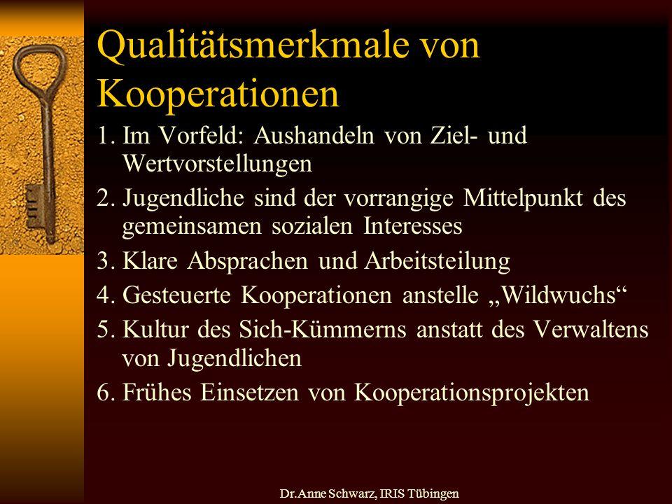 Dr.Anne Schwarz, IRIS Tübingen Qualitätsmerkmale von Kooperationen 1.