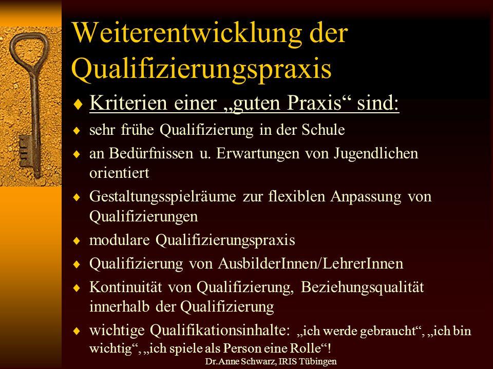 Dr.Anne Schwarz, IRIS Tübingen Weiterentwicklung der Qualifizierungspraxis Kriterien einer guten Praxis sind: sehr frühe Qualifizierung in der Schule an Bedürfnissen u.