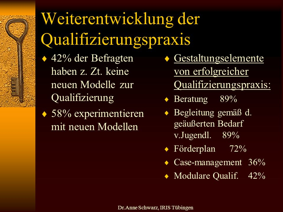 Dr.Anne Schwarz, IRIS Tübingen Weiterentwicklung der Qualifizierungspraxis 42% der Befragten haben z.