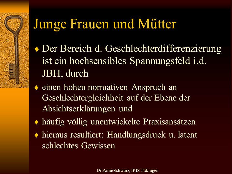 Dr.Anne Schwarz, IRIS Tübingen Junge Frauen und Mütter Der Bereich d.
