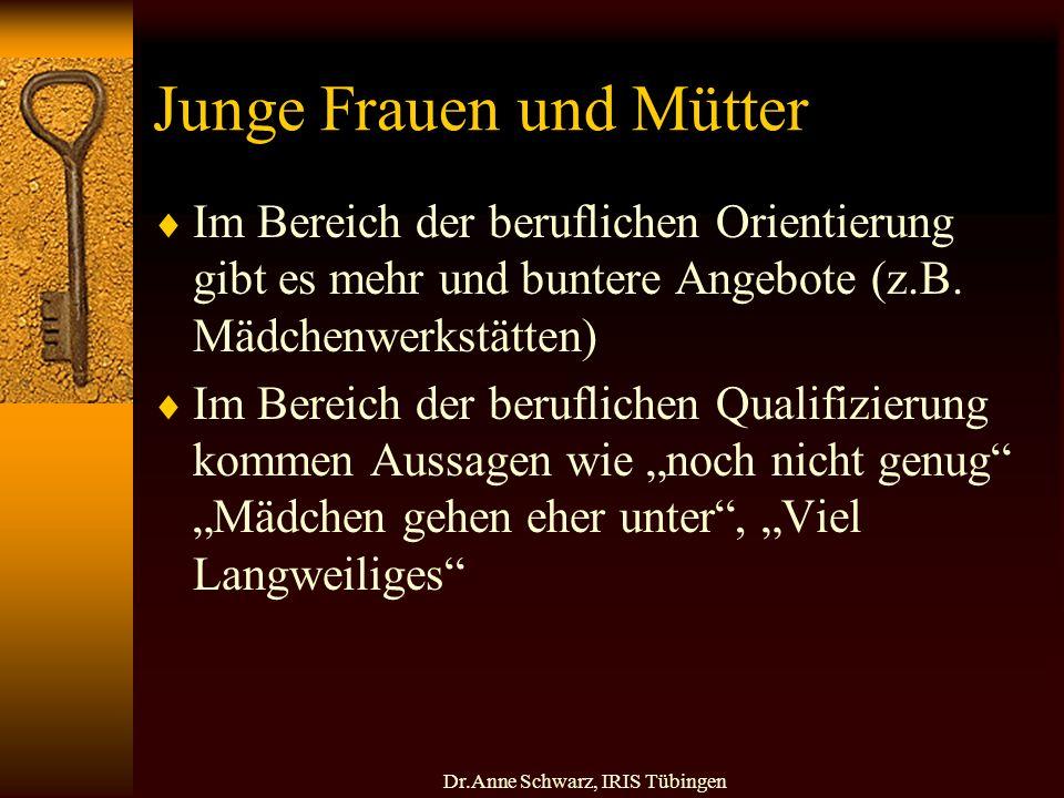 Dr.Anne Schwarz, IRIS Tübingen Junge Frauen und Mütter Im Bereich der beruflichen Orientierung gibt es mehr und buntere Angebote (z.B.