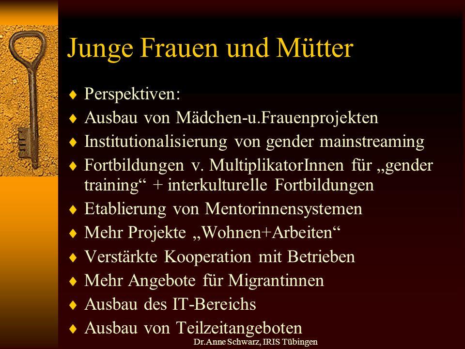 Dr.Anne Schwarz, IRIS Tübingen Junge Frauen und Mütter Perspektiven: Ausbau von Mädchen-u.Frauenprojekten Institutionalisierung von gender mainstreaming Fortbildungen v.