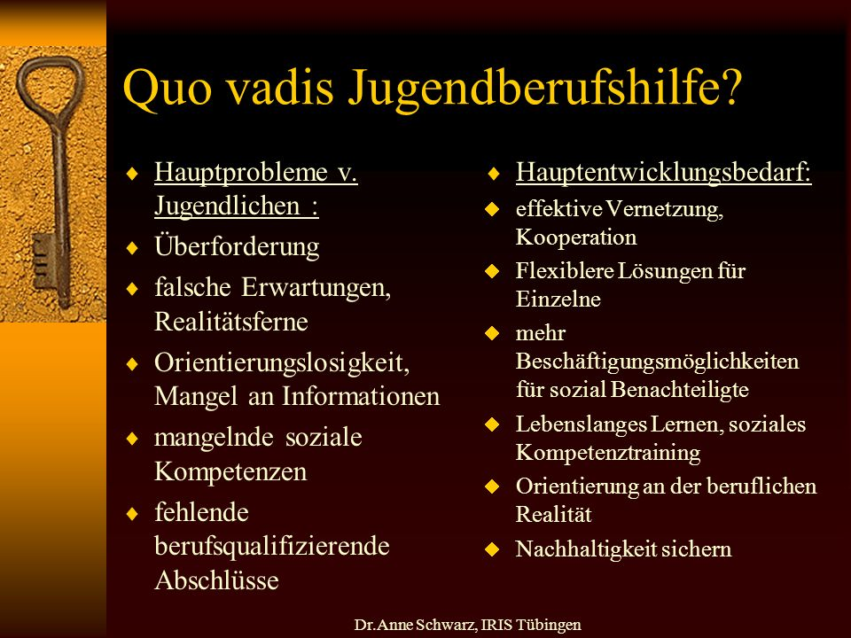 Dr.Anne Schwarz, IRIS Tübingen Quo vadis Jugendberufshilfe.