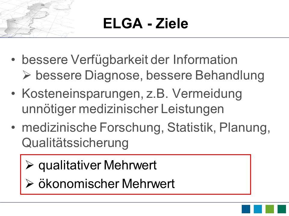 ELGA - Ziele bessere Verfügbarkeit der Information bessere Diagnose, bessere Behandlung Kosteneinsparungen, z.B. Vermeidung unnötiger medizinischer Le