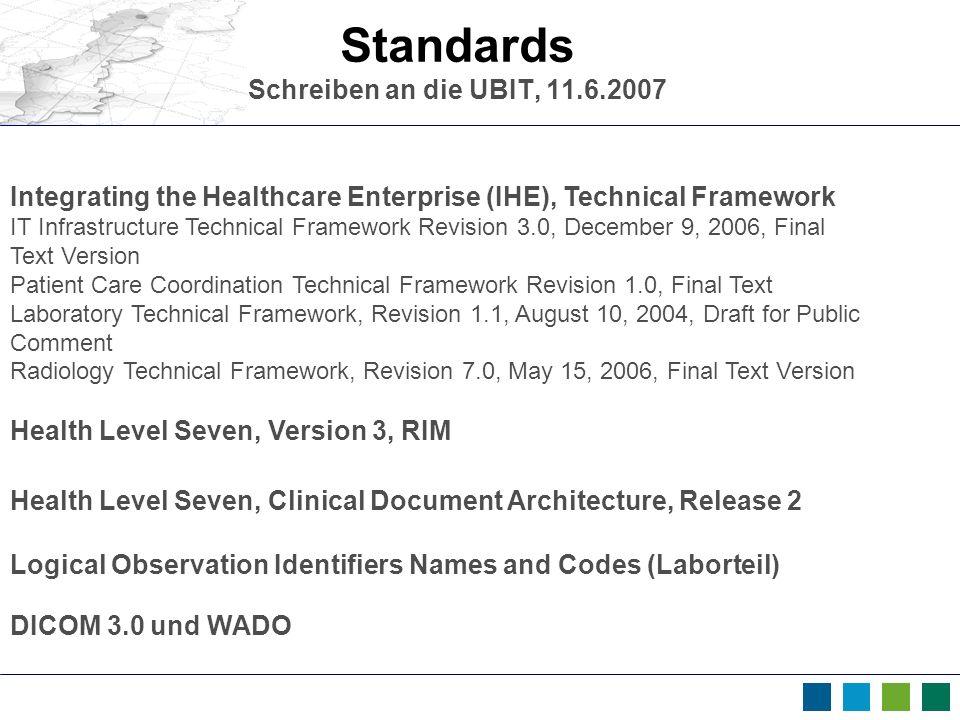 Standards Schreiben an die UBIT, 11.6.2007 Integrating the Healthcare Enterprise (IHE), Technical Framework IT Infrastructure Technical Framework Revi