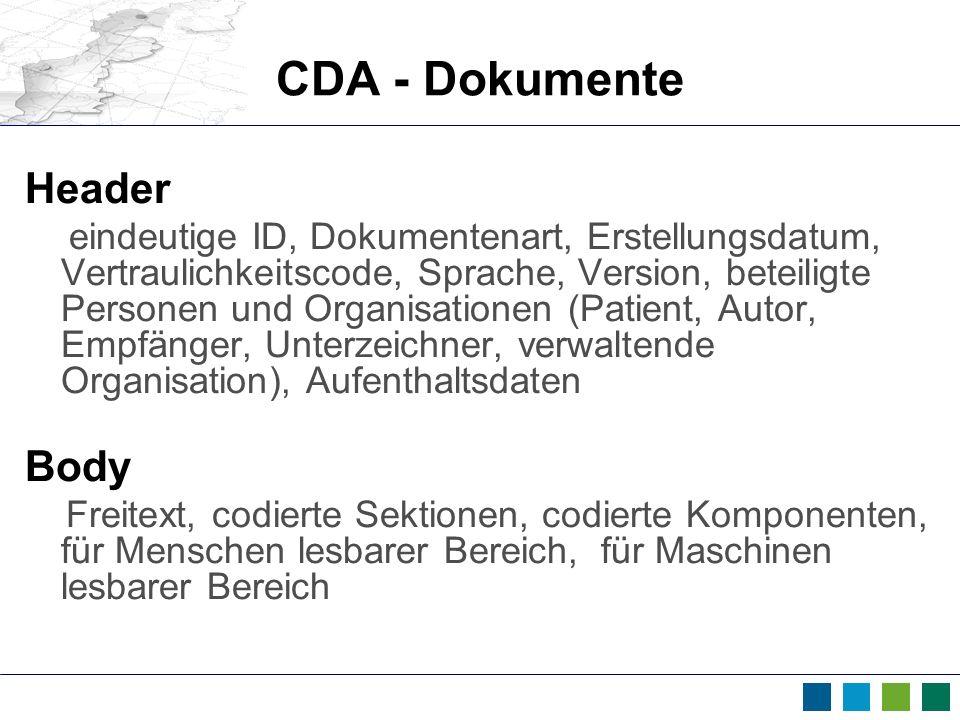 CDA - Dokumente Header eindeutige ID, Dokumentenart, Erstellungsdatum, Vertraulichkeitscode, Sprache, Version, beteiligte Personen und Organisationen