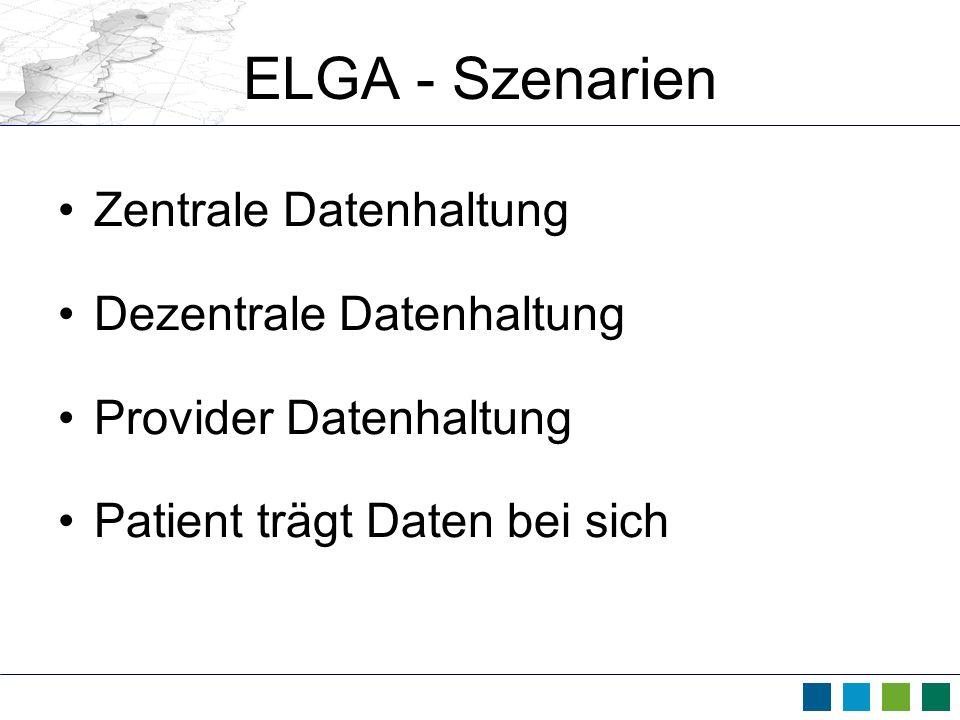 ELGA - Szenarien Zentrale Datenhaltung Dezentrale Datenhaltung Provider Datenhaltung Patient trägt Daten bei sich