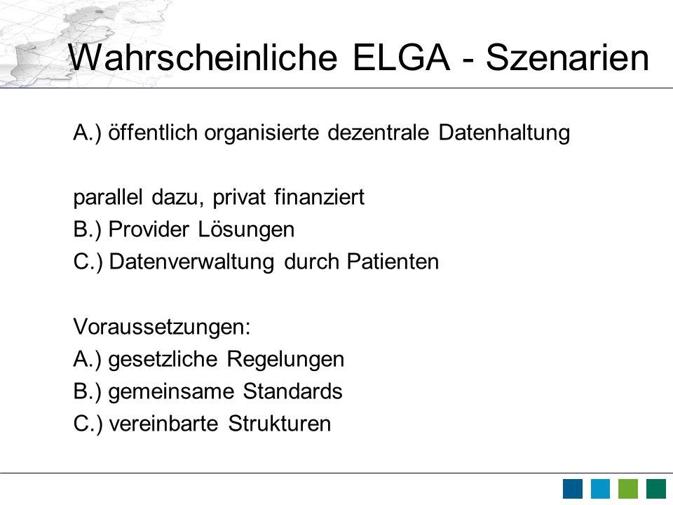 Wahrscheinliche ELGA - Szenarien A.) öffentlich organisierte dezentrale Datenhaltung parallel dazu, privat finanziert B.) Provider Lösungen C.) Datenv
