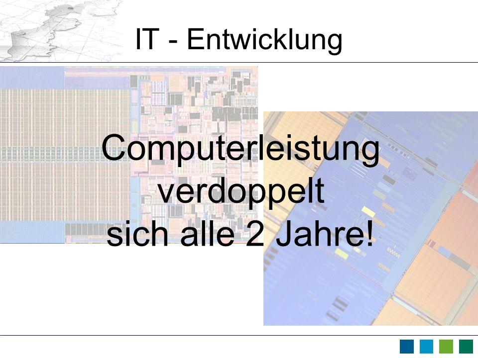 IT - Entwicklung Computerleistung verdoppelt sich alle 2 Jahre!