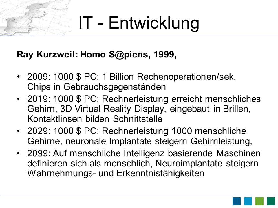 IT - Entwicklung Ray Kurzweil: Homo S@piens, 1999, 2009: 1000 $ PC: 1 Billion Rechenoperationen/sek, Chips in Gebrauchsgegenständen 2019: 1000 $ PC: R