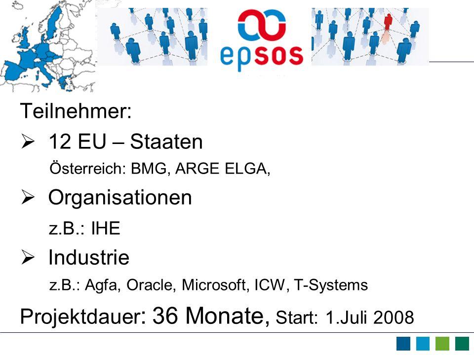 Teilnehmer: 12 EU – Staaten Österreich: BMG, ARGE ELGA, Organisationen z.B.: IHE Industrie z.B.: Agfa, Oracle, Microsoft, ICW, T-Systems Projektdauer