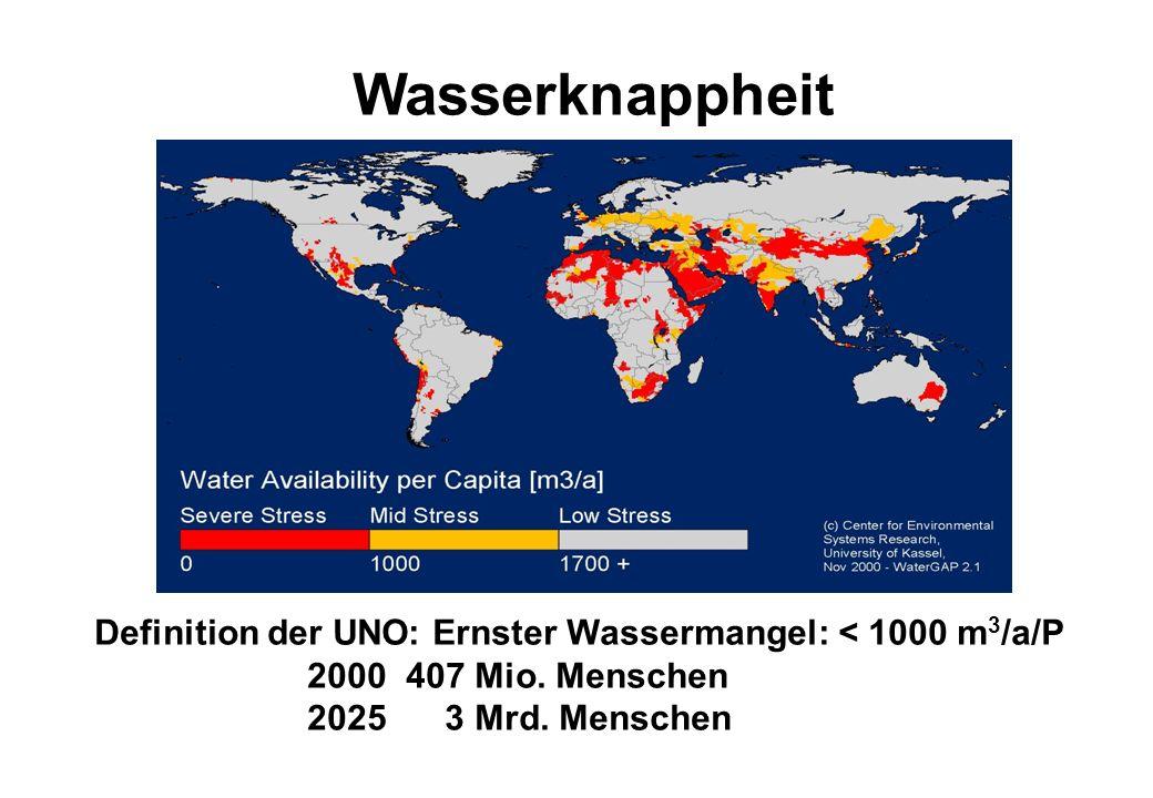 Wasserknappheit Definition der UNO: Ernster Wassermangel: < 1000 m 3 /a/P 2000 407 Mio. Menschen 2025 3 Mrd. Menschen