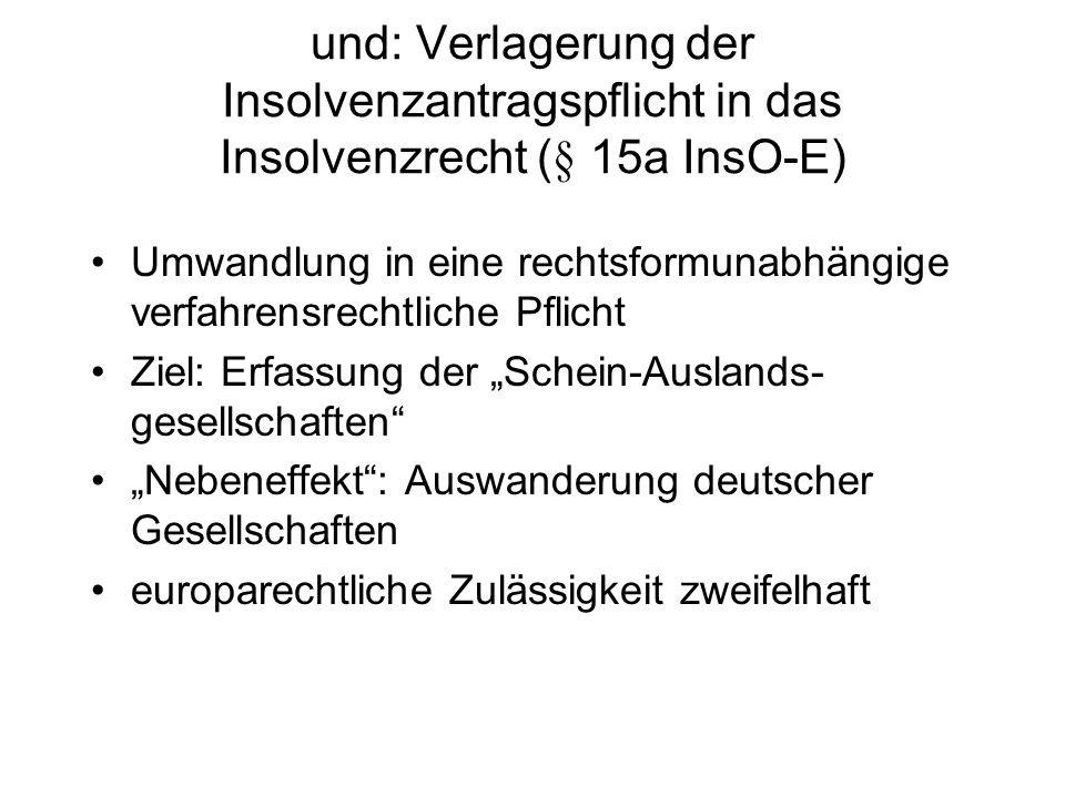 MoMiG zur Erweiterung von Insolvenz- antragsrecht und pflicht auf Gesellschafter alle Gesellschafter, auch Minderheitsgesell- schafter (str.) Kenntnis von Führungslosigkeit und Insol- venzgrund wird vermutet im Falle von Führungslosigkeit (§ 35 Abs.