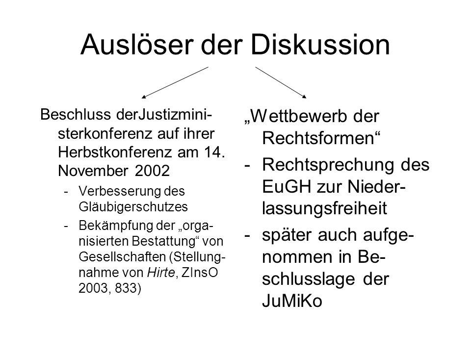 MoMiG = Gesetz zur Modernisierung des GmbH-Rechts und zur Bekämpfung von Missbräuchen (MoMiG) (Regierungsentwurf vom 23.5.2007)