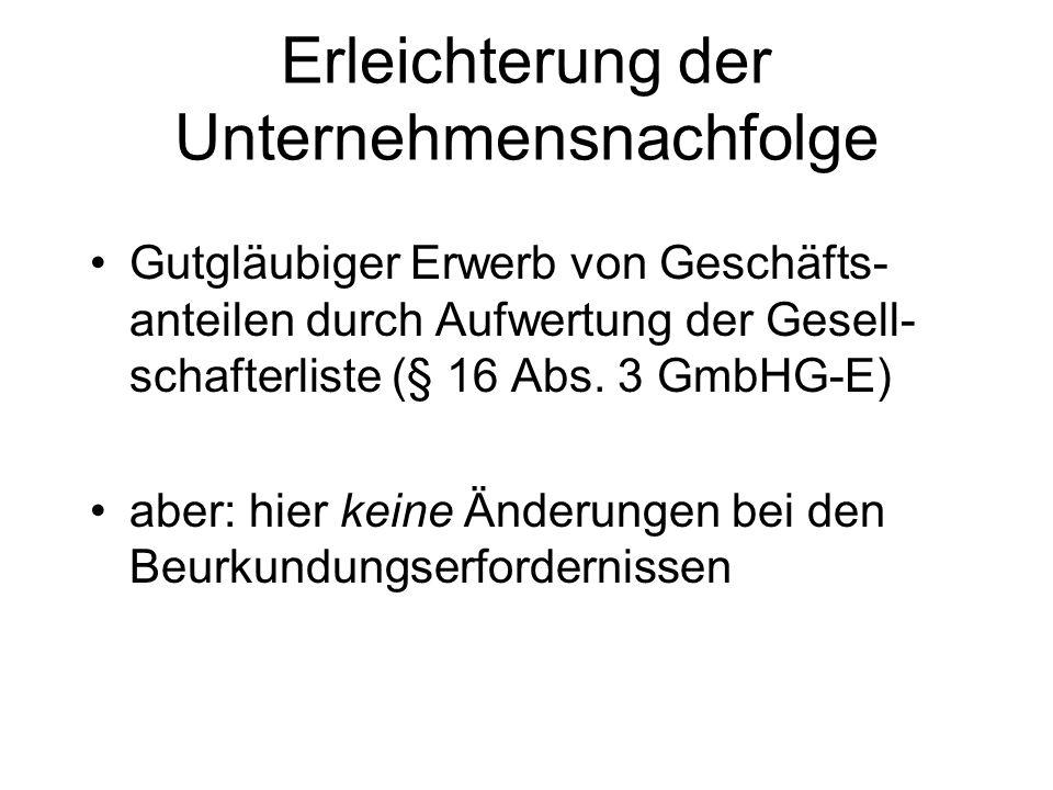 Zustellprobleme bei Vertreterlosigkeit (= Schutz vor der GmbH) Pflicht zur Eintragung der Geschäftsanschrift in das Handelsregister (§ 8 Abs.