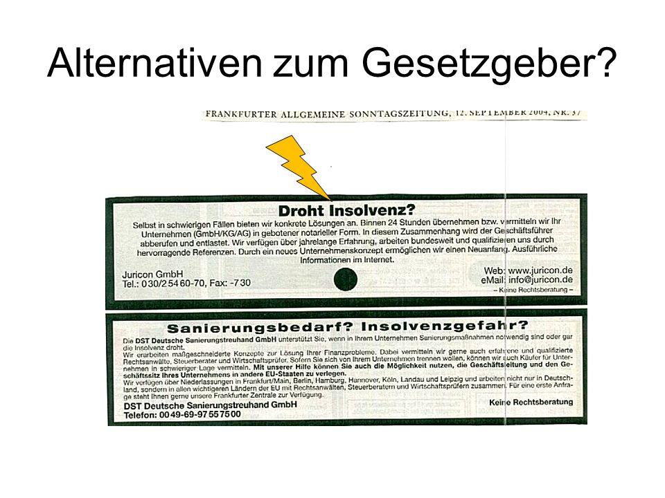 Gesetzgeberische Reaktion RefE eines Gesetzes zur Bekämpfung von Missbräuchen, zur Neuregelung der Kapitalaufbringung und zur Förderung der Transparenz im GmbH-Recht (MiKaTraG) vom 30.11.2004 (unveröffentlicht) RegE eines Mindestkapitalgesetzes (BT-Drucks.