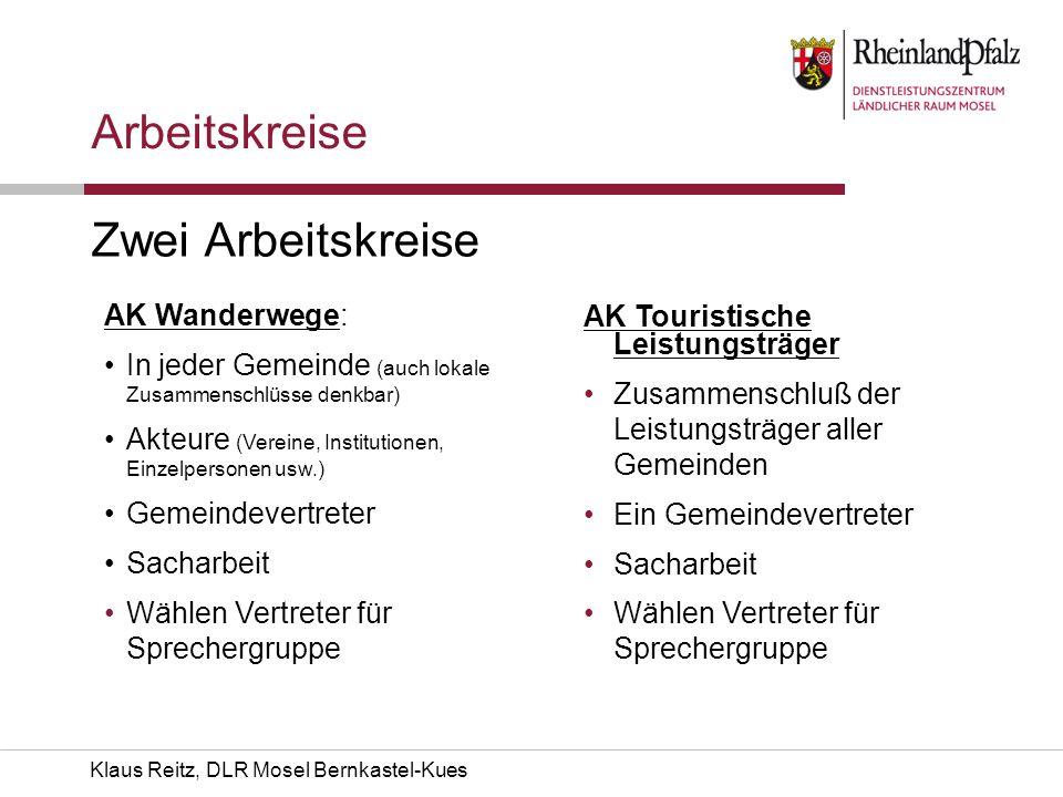 Klaus Reitz, DLR Mosel Bernkastel-Kues Arbeitskreise Zwei Arbeitskreise AK Wanderwege: In jeder Gemeinde (auch lokale Zusammenschlüsse denkbar) Akteur