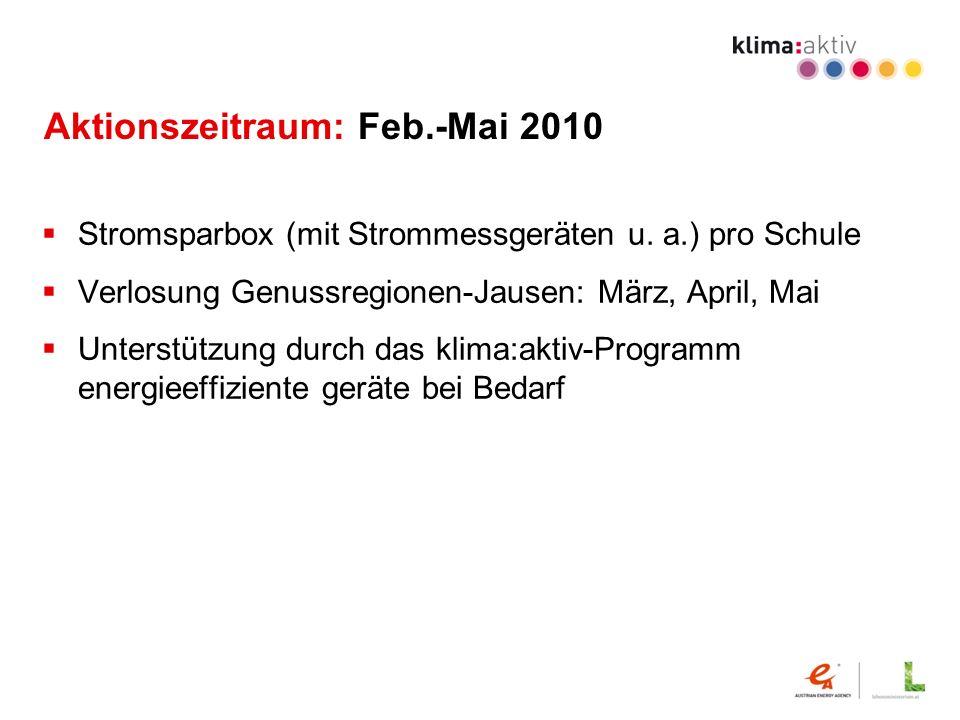 Aktionszeitraum: Feb.-Mai 2010 Stromsparbox (mit Strommessgeräten u. a.) pro Schule Verlosung Genussregionen-Jausen: März, April, Mai Unterstützung du