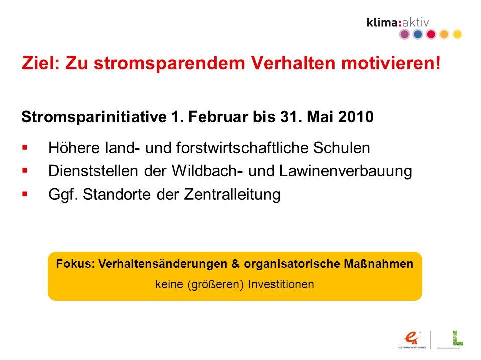 Ziel: Zu stromsparendem Verhalten motivieren! Stromsparinitiative 1. Februar bis 31. Mai 2010 Höhere land- und forstwirtschaftliche Schulen Dienststel
