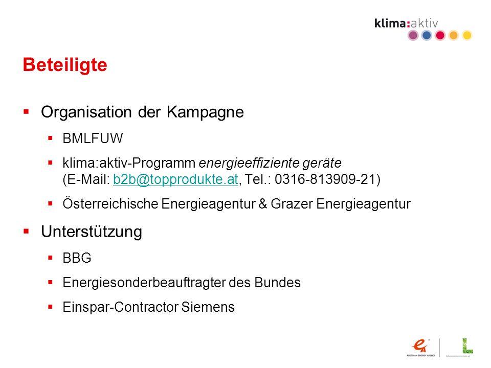 Beteiligte Organisation der Kampagne BMLFUW klima:aktiv-Programm energieeffiziente geräte (E-Mail: b2b@topprodukte.at, Tel.: 0316-813909-21)b2b@topprodukte.at Österreichische Energieagentur & Grazer Energieagentur Unterstützung BBG Energiesonderbeauftragter des Bundes Einspar-Contractor Siemens