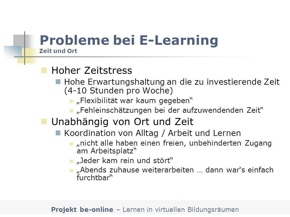 Projekt be-online – Lernen in virtuellen Bildungsräumen Probleme bei E-Learning Zeit und Ort Hoher Zeitstress Hohe Erwartungshaltung an die zu investi