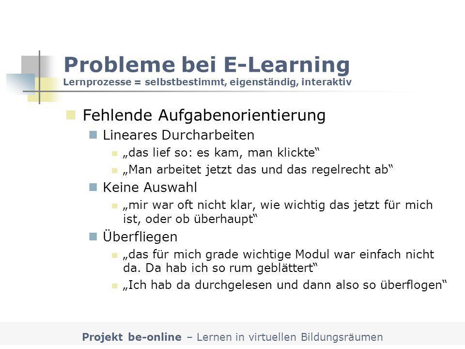 Projekt be-online – Lernen in virtuellen Bildungsräumen Probleme bei E-Learning Lernprozesse = selbstbestimmt, eigenständig, interaktiv Fehlende Aufga