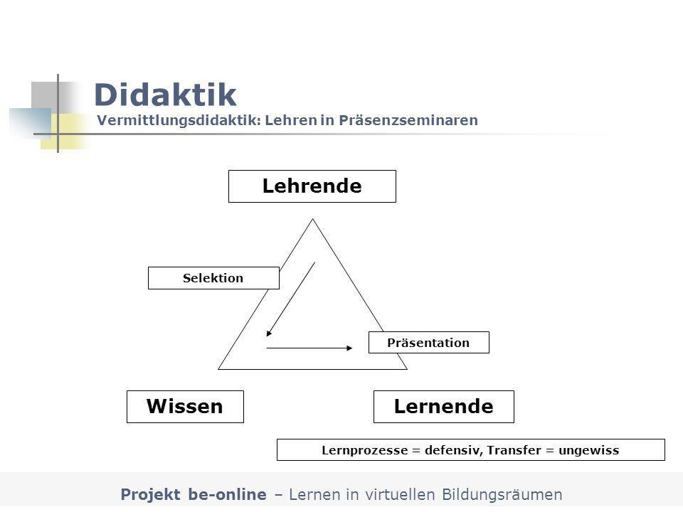 Projekt be-online – Lernen in virtuellen Bildungsräumen Lehrende LernendeWissen Selektion Präsentation Didaktik Vermittlungsdidaktik: Lehren in Präsen