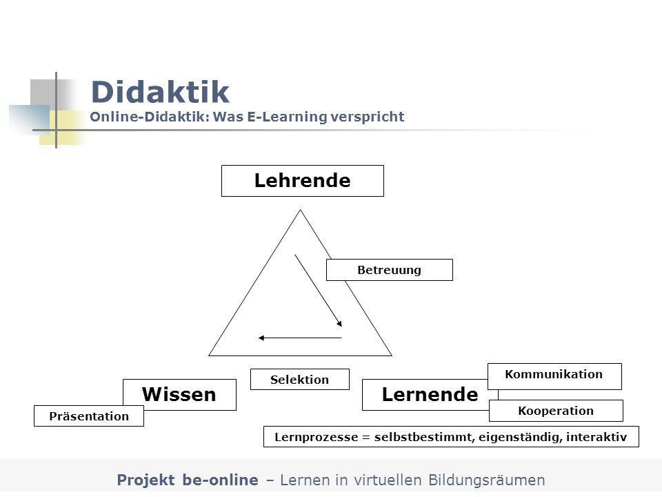 Projekt be-online – Lernen in virtuellen Bildungsräumen Didaktik Online-Didaktik: Was E-Learning verspricht Lehrende LernendeWissen Selektion Präsenta