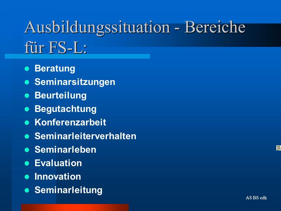 Ausbildungssituation - Bereiche für FS-L: Beratung Seminarsitzungen Beurteilung Begutachtung Konferenzarbeit Seminarleiterverhalten Seminarleben Evalu