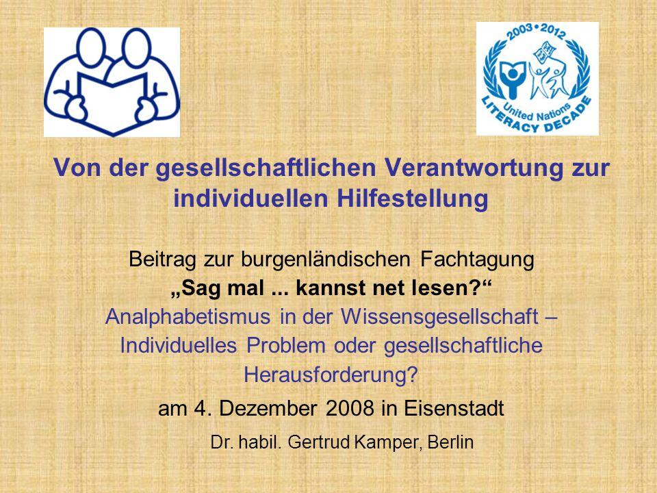 Von der gesellschaftlichen Verantwortung zur individuellen Hilfestellung Beitrag zur burgenländischen Fachtagung Sag mal...