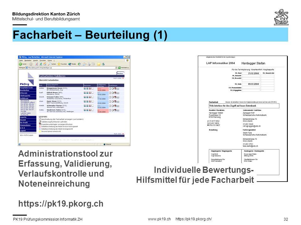 PK19 Prüfungskommission Informatik ZH www.pk19.ch https://pk19.pkorg.ch/ 32 Facharbeit – Beurteilung (1) Individuelle Bewertungs- Hilfsmittel für jede