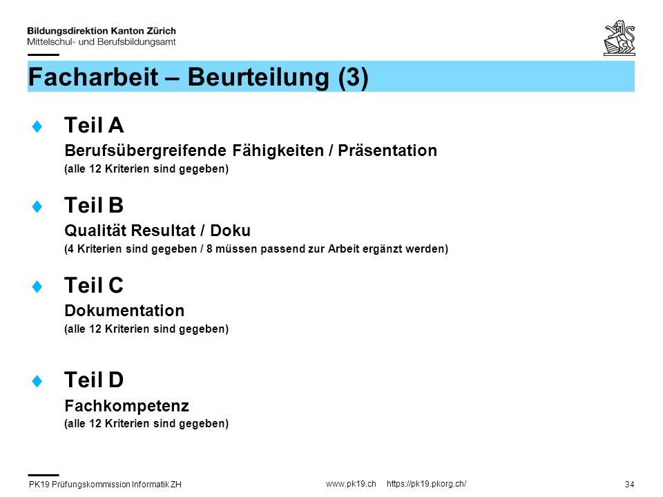 PK19 Prüfungskommission Informatik ZH www.pk19.ch https://pk19.pkorg.ch/ 34 Facharbeit – Beurteilung (3) Teil A Berufsübergreifende Fähigkeiten / Präs