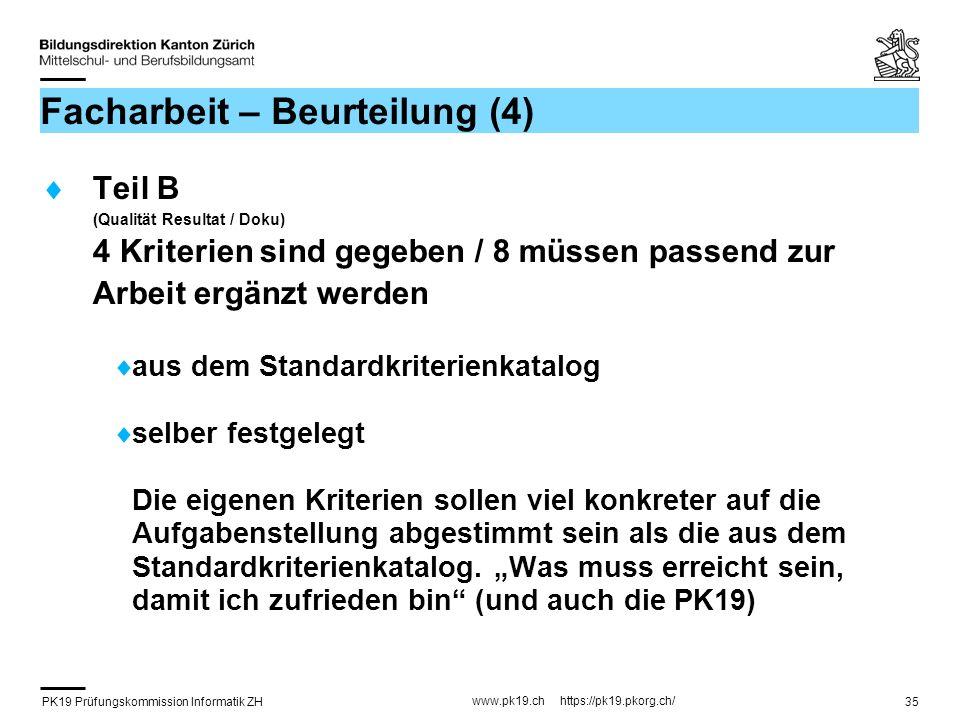 PK19 Prüfungskommission Informatik ZH www.pk19.ch https://pk19.pkorg.ch/ 35 Facharbeit – Beurteilung (4) Teil B (Qualität Resultat / Doku) 4 Kriterien