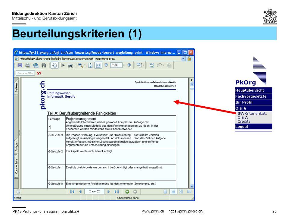 PK19 Prüfungskommission Informatik ZH www.pk19.ch https://pk19.pkorg.ch/ 36 Beurteilungskriterien (1)