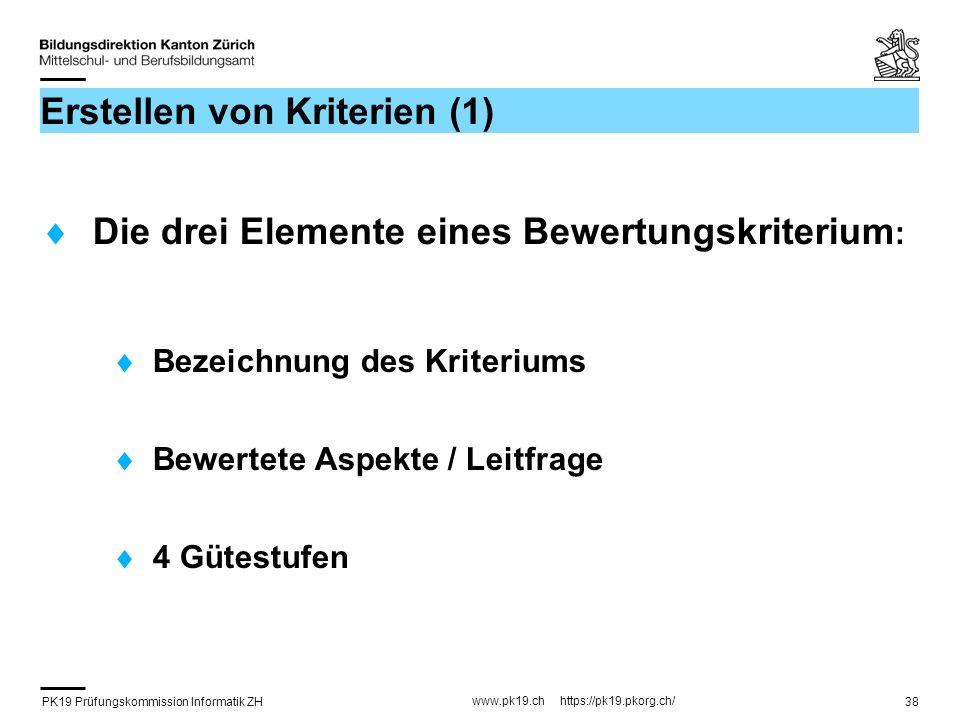 PK19 Prüfungskommission Informatik ZH www.pk19.ch https://pk19.pkorg.ch/ 38 Erstellen von Kriterien (1) Die drei Elemente eines Bewertungskriterium :