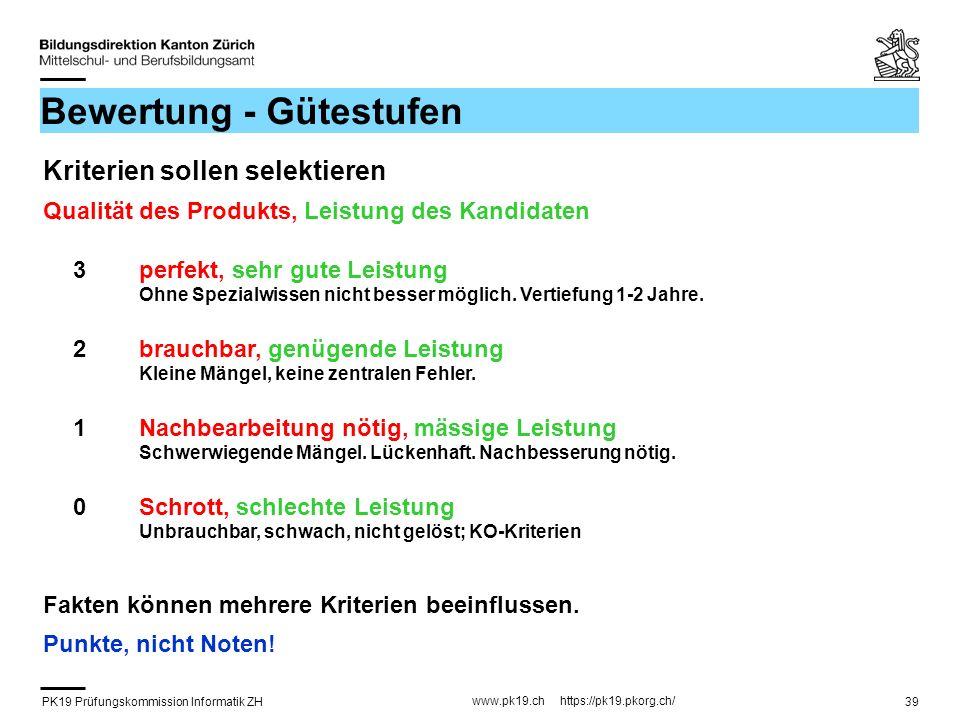 PK19 Prüfungskommission Informatik ZH www.pk19.ch https://pk19.pkorg.ch/ 39 Bewertung - Gütestufen Kriterien sollen selektieren Qualität des Produkts,