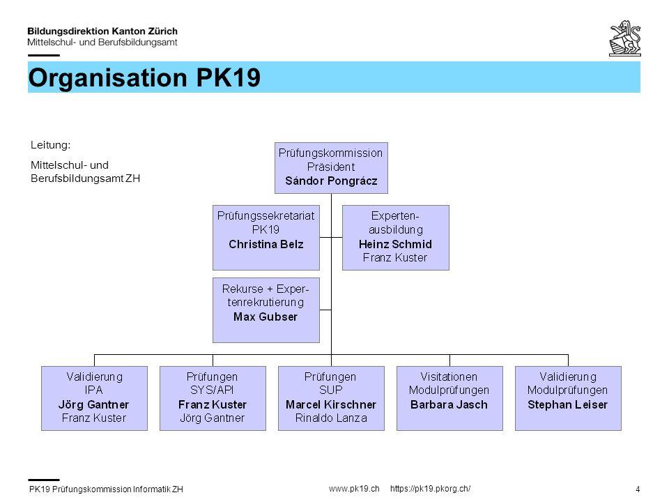 PK19 Prüfungskommission Informatik ZH www.pk19.ch https://pk19.pkorg.ch/ 4 Organisation PK19 Leitung: Mittelschul- und Berufsbildungsamt ZH