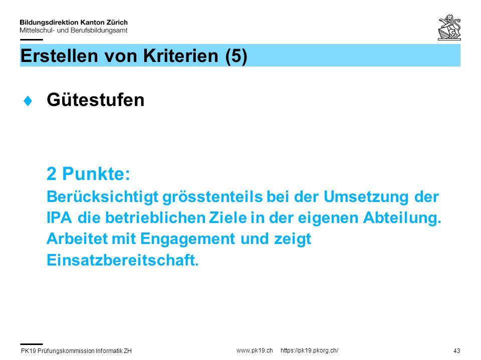 PK19 Prüfungskommission Informatik ZH www.pk19.ch https://pk19.pkorg.ch/ 43 Erstellen von Kriterien (5) Gütestufen 2 Punkte: Berücksichtigt grösstente