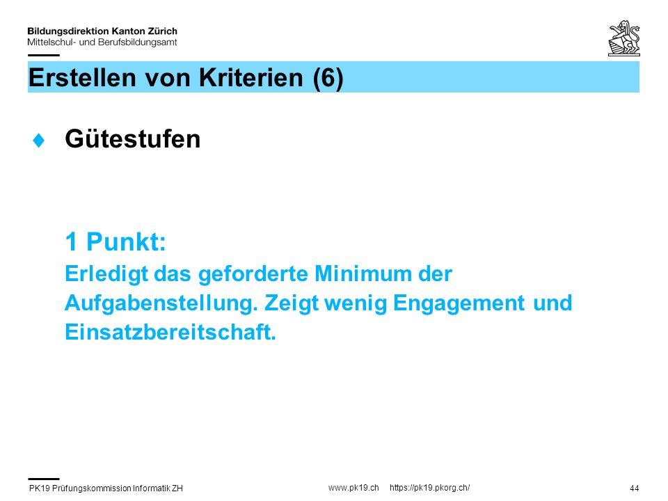 PK19 Prüfungskommission Informatik ZH www.pk19.ch https://pk19.pkorg.ch/ 44 Erstellen von Kriterien (6) Gütestufen 1 Punkt: Erledigt das geforderte Mi