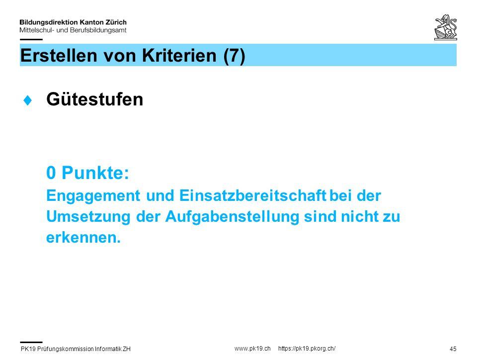 PK19 Prüfungskommission Informatik ZH www.pk19.ch https://pk19.pkorg.ch/ 45 Erstellen von Kriterien (7) Gütestufen 0 Punkte: Engagement und Einsatzber