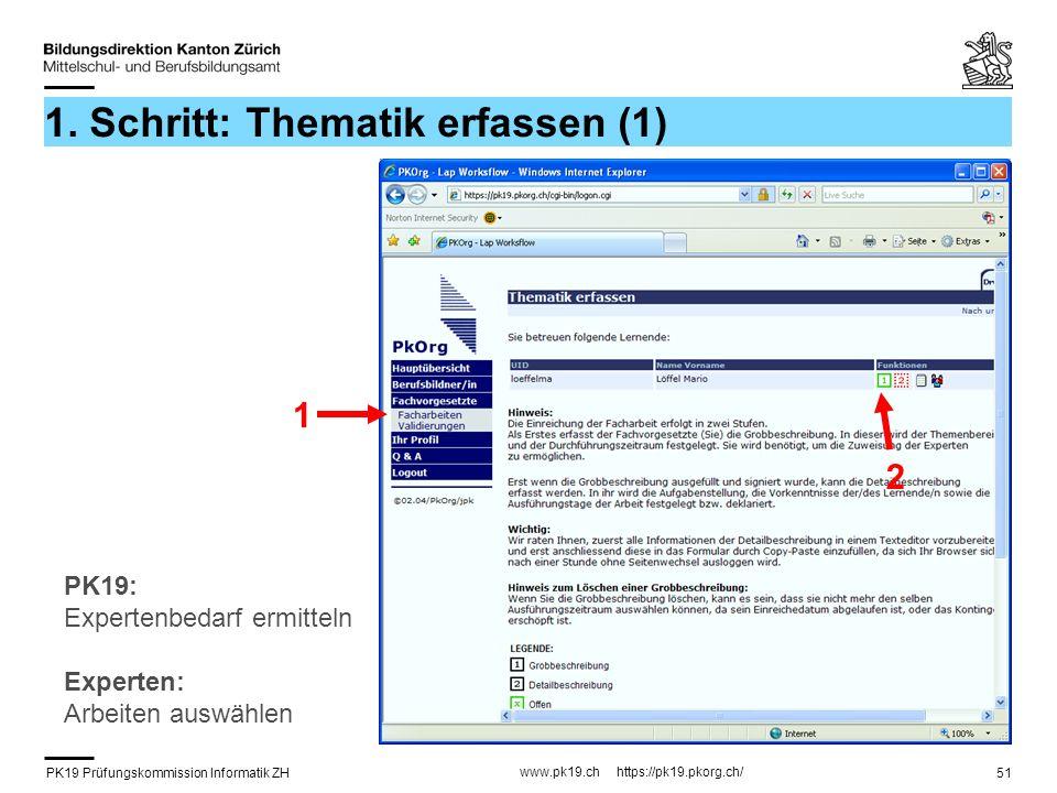 PK19 Prüfungskommission Informatik ZH www.pk19.ch https://pk19.pkorg.ch/ 51 1. Schritt: Thematik erfassen (1) 1 2 PK19: Expertenbedarf ermitteln Exper
