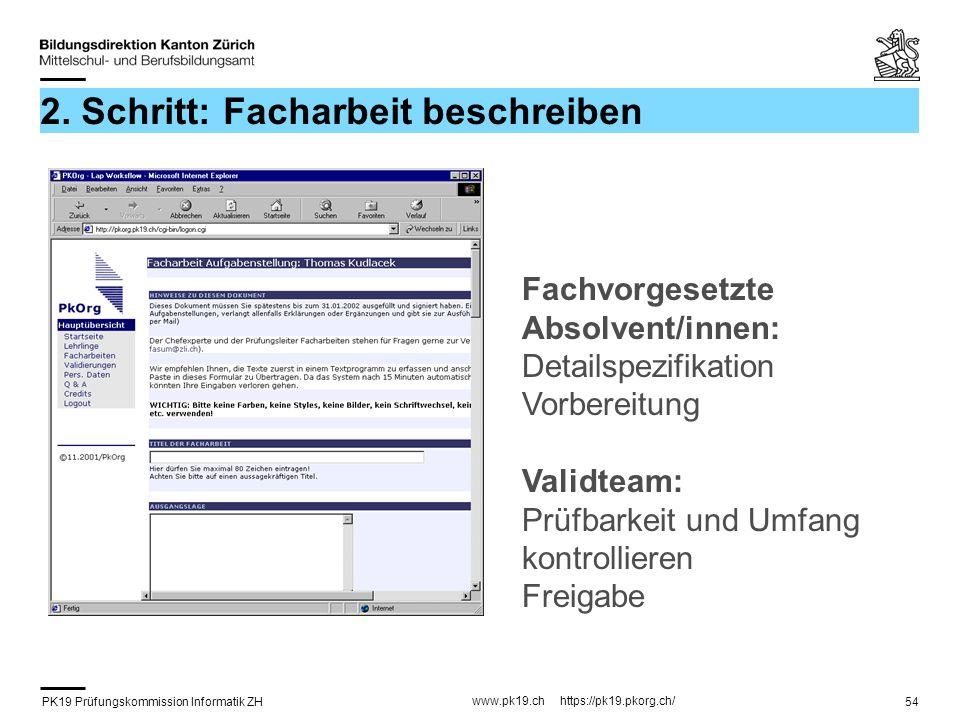 PK19 Prüfungskommission Informatik ZH www.pk19.ch https://pk19.pkorg.ch/ 54 2. Schritt: Facharbeit beschreiben Fachvorgesetzte Absolvent/innen: Detail