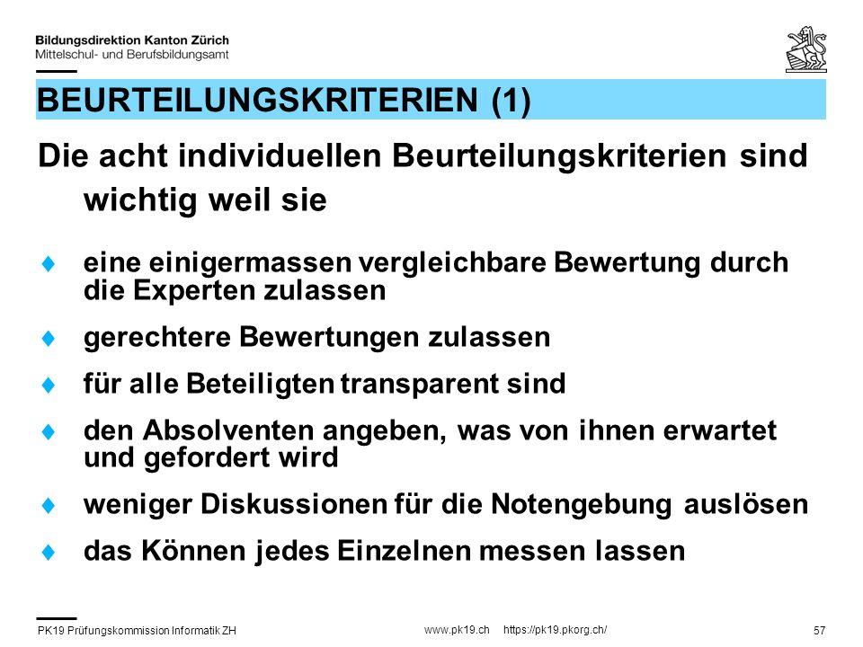 PK19 Prüfungskommission Informatik ZH www.pk19.ch https://pk19.pkorg.ch/ 57 BEURTEILUNGSKRITERIEN (1) Die acht individuellen Beurteilungskriterien sin