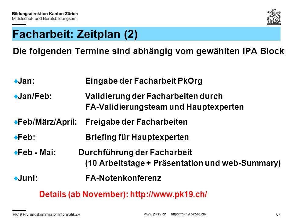 PK19 Prüfungskommission Informatik ZH www.pk19.ch https://pk19.pkorg.ch/ 67 Facharbeit: Zeitplan (2) Die folgenden Termine sind abhängig vom gewählten