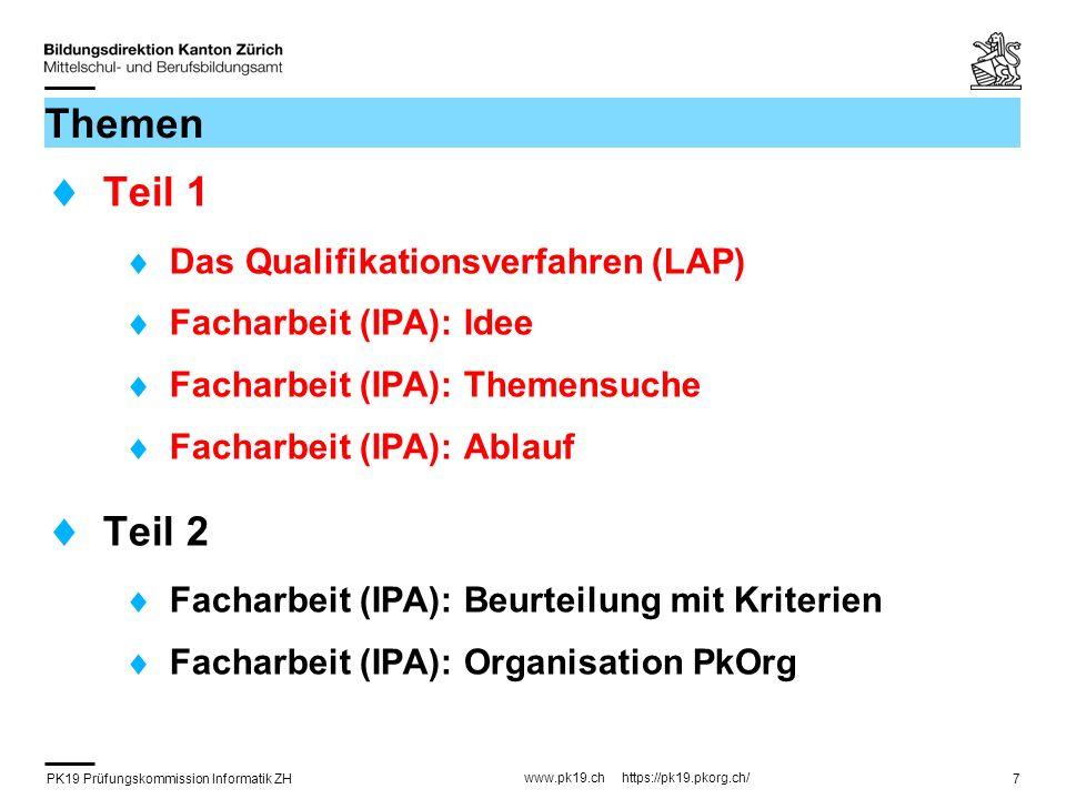 PK19 Prüfungskommission Informatik ZH www.pk19.ch https://pk19.pkorg.ch/ 38 Erstellen von Kriterien (1) Die drei Elemente eines Bewertungskriterium : Bezeichnung des Kriteriums Bewertete Aspekte / Leitfrage 4 Gütestufen